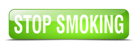 stop smoking: stop smoking green square 3d realistic isolated web button