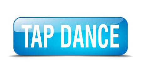 3d dance: tap dance blue square 3d realistic isolated web button Illustration