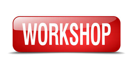 workshop red square 3d realistic isolated web button