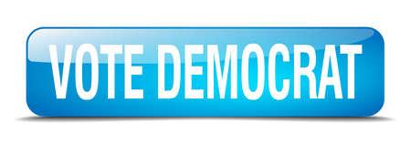 democrats: votar dem�crata bot�n cuadrado azul 3d realista aislada web Vectores