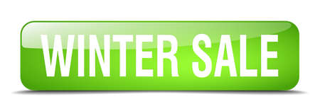 winter sale: winter sale green square 3d realistic isolated web button