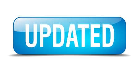 updated: bot�n actualizada cuadrado azul 3d realista aislada web