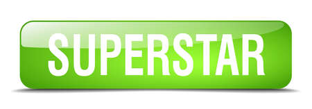 superstar: superstar green square 3d realistic isolated web button