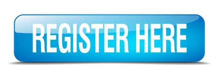 Registreer hier blauw vierkant 3d realistische geïsoleerde web knop