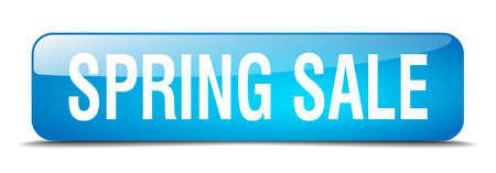 spring sale: spring sale blue square 3d realistic isolated web button