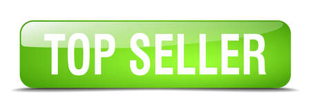 top seller: top seller green square 3d realistic isolated web button