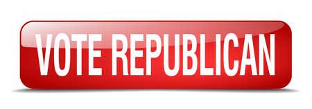 republican: vote republican red square 3d realistic isolated web button