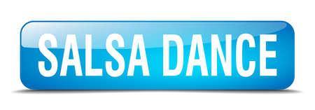 3d dance: salsa dance blue square 3d realistic isolated web button Illustration