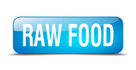 raw food: raw food blue square 3d realistic isolated web button Illustration