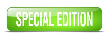 edizione straordinaria: edizione speciale 3d tasto verde quadrato realistico web isolato