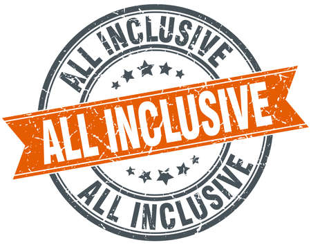 inclusive: all inclusive round orange grungy vintage isolated stamp