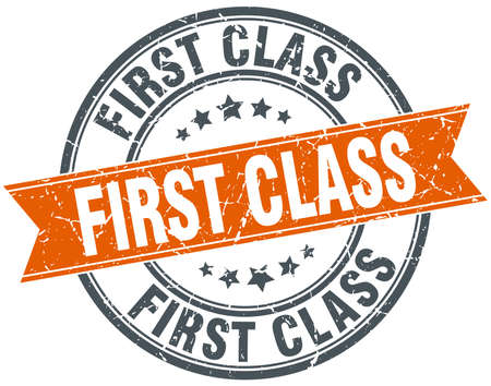 first class: first class round orange grungy vintage isolated stamp
