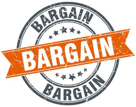bargain: bargain round orange grungy vintage isolated stamp
