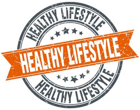 grungy: healthy lifestyle round orange grungy vintage isolated stamp Illustration