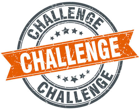 challenge round orange grungy vintage isolated stamp 일러스트