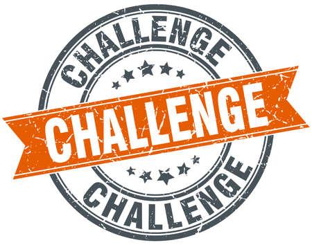 challenge round orange grungy vintage isolated stamp Vettoriali