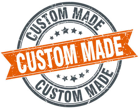 custom made: custom made round orange grungy vintage isolated stamp Illustration