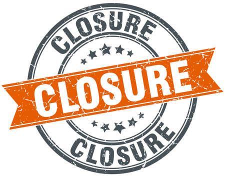 closure: closure round orange grungy vintage isolated stamp Illustration