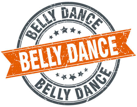 belly dance: belly dance round orange grungy vintage isolated stamp