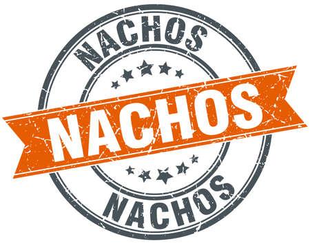 nachos: nachos round orange grungy vintage isolated stamp Illustration
