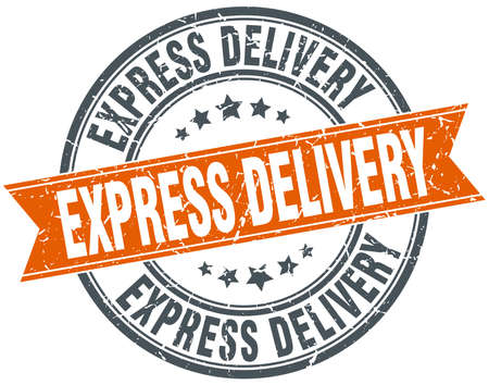 express delivery: express delivery round orange grungy vintage isolated stamp