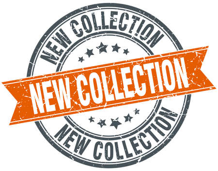 new collection: new collection round orange grungy vintage isolated stamp
