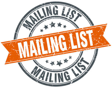 mailing: mailing list round orange grungy vintage isolated stamp