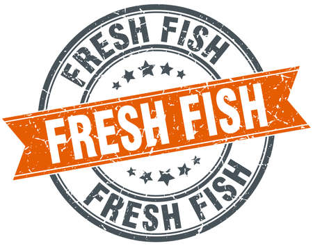 fresh fish: fresh fish round orange grungy vintage isolated stamp