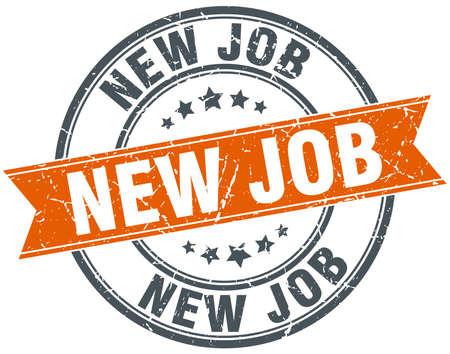 new job: new job round orange grungy vintage isolated stamp