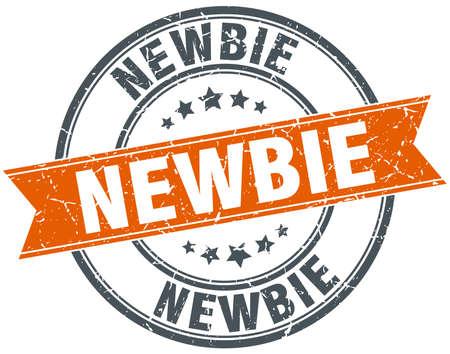 newbie: newbie round orange grungy vintage isolated stamp Illustration