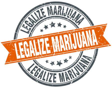 legalize: legalize marijuana round orange grungy vintage isolated stamp