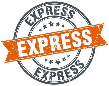 express: express round orange grungy vintage isolated stamp