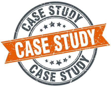 case study: case study round orange grungy vintage isolated stamp