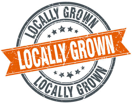 grown: locally grown round orange grungy vintage isolated stamp Illustration