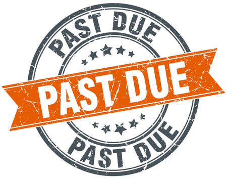 past due: past due round orange grungy vintage isolated stamp