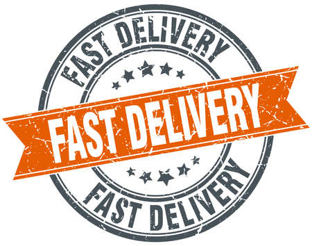 fast delivery: fast delivery round orange grungy vintage isolated stamp