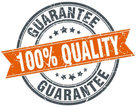 seal: 100% quality guarantee round orange grungy vintage isolated stamp