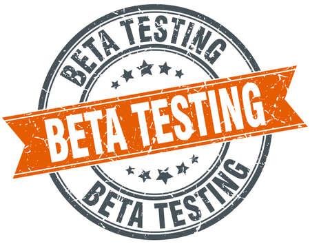 beta: beta testing round orange grungy vintage isolated stamp Illustration