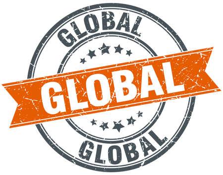 circle shape: global round orange grungy vintage isolated stamp Illustration