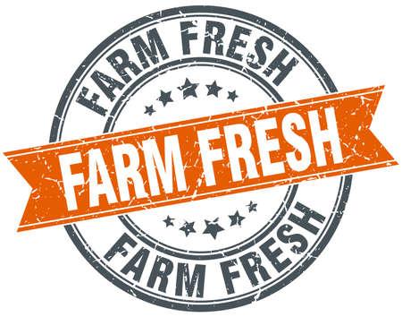 farm fresh: fattoria fresco arancione tondo annata grungy isolato francobollo