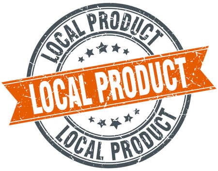 local: local product round orange grungy vintage isolated stamp