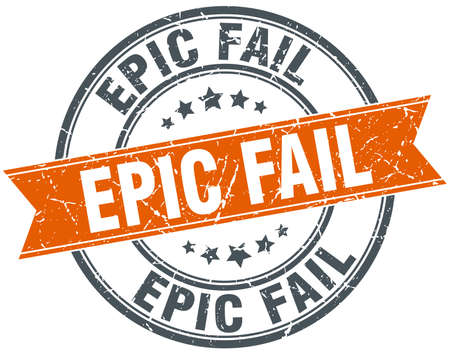 epic: epic fail round orange grungy vintage isolated stamp Illustration