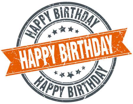 Joyeux anniversaire rond orange millésime grungy timbre isolé Banque d'images - 42298262