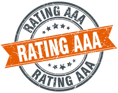 aaa: rating aaa round orange grungy vintage isolated stamp
