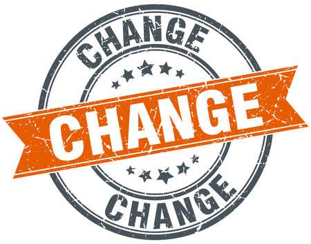 vintage stamp: change round orange grungy vintage isolated stamp