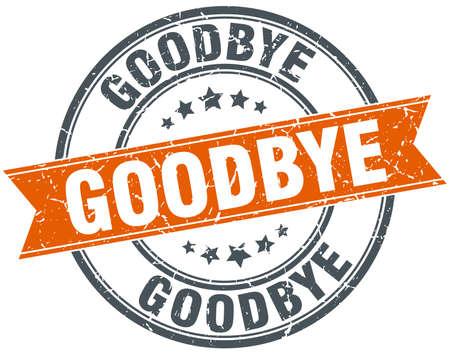addio: arrivederci rotondo arancione vintage timbro grungy isolato Vettoriali