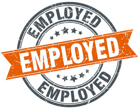 employed: employed round orange grungy vintage isolated stamp