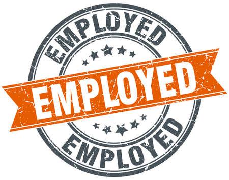 empleadas: naranja redonda empleada aislados grungy sello de la vendimia Vectores