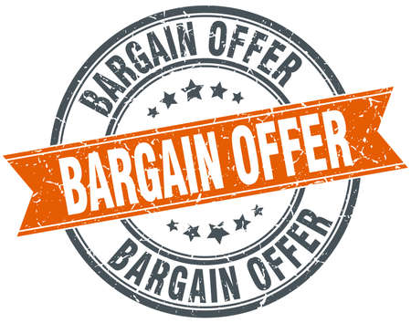 bargain: bargain offer round orange grungy vintage isolated stamp