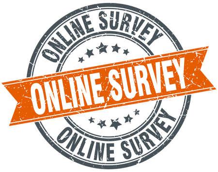 online survey: online survey round orange grungy vintage isolated stamp Illustration